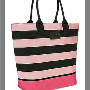 Pink Black Striped Canvas Tote 'NEW'